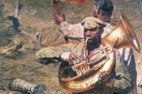 Репродукция части триптиха художника Гелия Коржева «Интернационал» из собрания Государственного Русского музея.