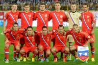Игроки сборной России перед началом матча отборочного тура Чемпионата мира-2014 между сборными командами России и Люксембурга.