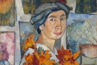 Наталья Гончарова. Автопортрет с лилиями, 1907. Фрагмент