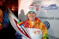 Надежда Таланова стала последним факелоносцем эстафеты олимпийского огня в Смоленске.