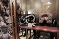 Обвиняемые по делу о теракте в аэропорту Домодедово в зале Московского областного суда.