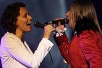 Солист группы «Би-2» Шура и певица Юлия Чичерина.