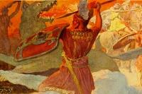 Верховный бог Один сражается с гигантским волком Фенриром.