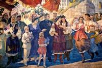 Мозаичное панно, изображающее дружбу русского и украинского народов.