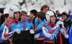 На соревнованиях по санному спорту российская команда заняла 4-е место в смешанной эстафете. На фото - спортсмены Александр Степичев и Виктория Демченко сразу после финиша.