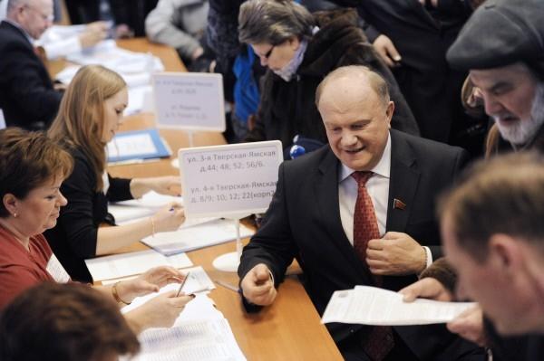 Голосование кандидата в президенты РФ Геннадия Зюганова