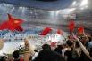 На торжественной церемонии открытия XXIX летних Олимпийских игр в Пекине на стадионе «Птичье гнездо» 2008 год