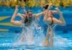 Российская сборная, занявшая первое место, выступает с произвольной программой в финале соревнований по синхронному плаванию на ХХХ Олимпийских играх в Лондоне.