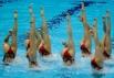 Российские спортсменки выступают с технической программой командных соревнований по синхронному плаванию на XXX летних Олимпийских играх в Лондоне.
