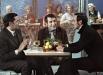 Поэт Роберт Рождественский (слева), композитор Арно Бабаджанян (в центре) и певец Муслим Магомаев (справа) принимают участие в телевизионной съемке. 1974 г.