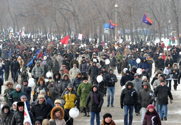 """4.02.2012 г. Участники митинга """"За честные выборы"""" в Москве на Болотной площади."""