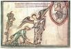 Ангел обращается к Иоанну Евангелисту: Иди и смотри! Иллюстрация из английской книги Нового Завета, 1250 г.