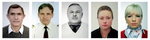 Члены экипажа воздушного судна ТУ-204 авиакомпании Red Wings (слева направо): Геннадий Шмелев, Евгений Асташенков, Игорь Фисенко, Евгения Жигалина, Татьяна Пенкина, погибшие в результате авиакатастрофы ТУ-204