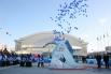 """Церемония торжественного запуска олимпийских часов в Хабаровске на площади перед """"Платинум Ареной""""."""