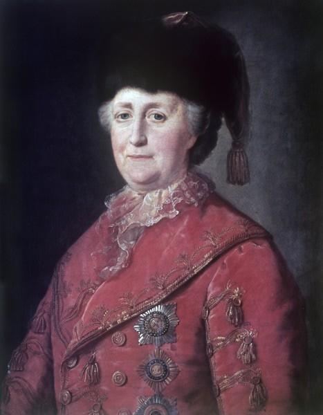 Екатерина II. София Августа Фредерика Анхальт-Цербстская, дочь прусского-генерала-фельдмаршала и жена Петра III. Свергла своего мужа через 6 месяцев после того, как он взошел на престол. Годы жизни: 1729 - 1796.