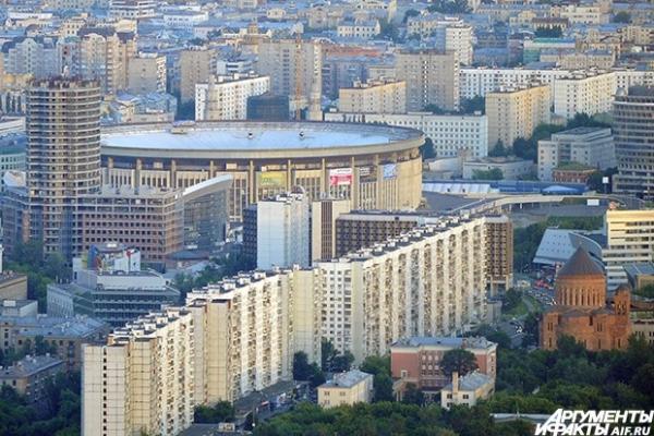 Вид на спортивный комплекс «Олимпийский» — один из крупнейших крытых спортивных комплексов России