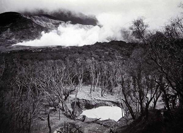 Вулкан Папандайян. Со склона вулкана стекает теплая река, температура которой достигает 42 градусов по Цельсию. Склоны Папандайяна кишат грязевыми котлами, горячими источниками и гейзерами. Последнее извержение зафиксировано в 2002 году.
