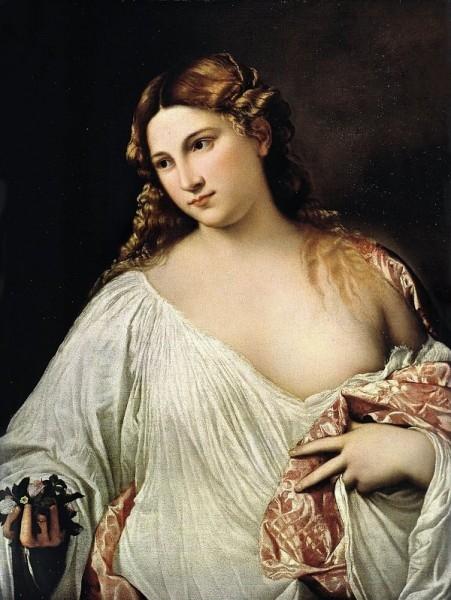 Знаменитый портрет «Флора». Картина, датируемая 1520 годом — это портрет нимфы Флоры, героини многих античных мифов. Светловолосая пышная красавица, лицо которой обрамляют знаменитые «тициановские волосы», вобрала в себя архетип женской красоты эпохи Возр