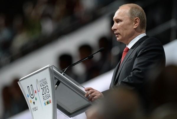 Президент России Владимир Путин выступает на церемонии открытия XXVII Всемирной летней Универсиады