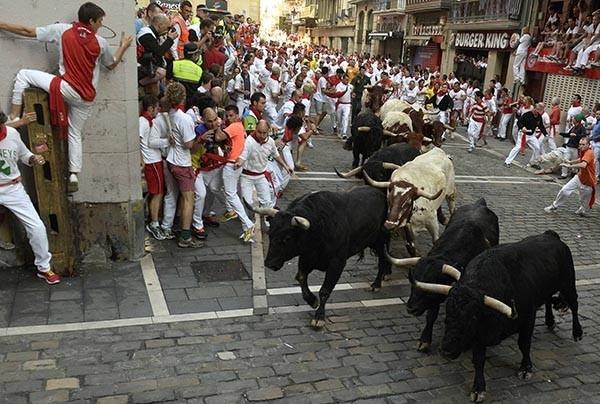 Самые отважные участники этого действа стараются не убежать, а наоборот - оказаться как можно ближе к быкам, и нередко попадают под копыта