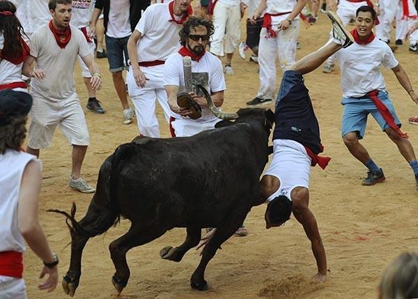 Зачастую, быки вбегают на арену прямо по головам