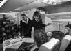 Студентки факультета стюардесс Ленинградского авиатехнического училища гражданской авиации тренируются в обслуживании пассажиров. 1984г.
