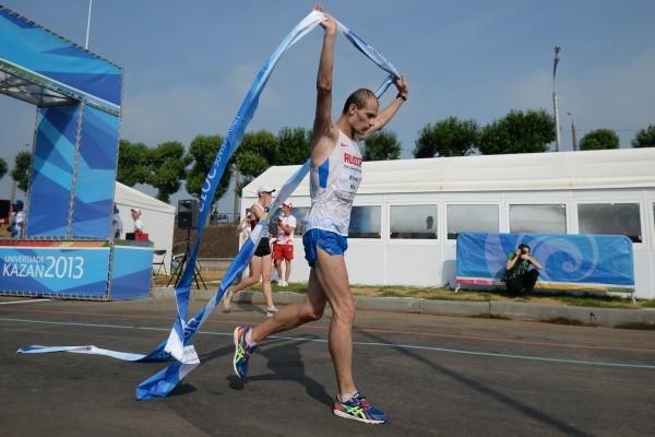 Российский спортсмен Андрей Кривов в финальных соревнованиях по спортивной ходьбе на дистанции 20 км среди мужчин