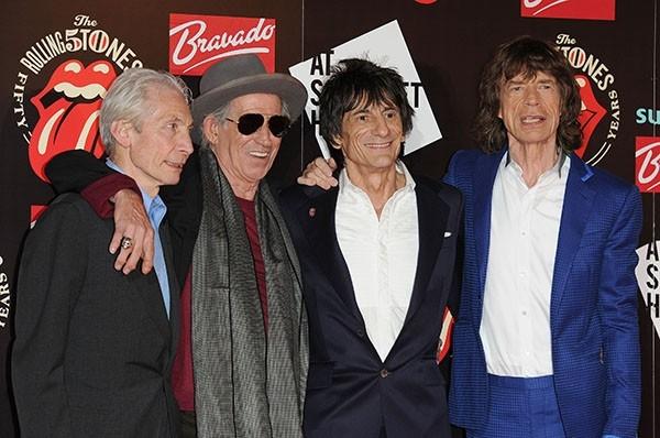 Чарли Уотс, Кит Ричардс, Ронни Вуд и Мик Джаггер в канун  В канун 50-го дня рождения группы The Rolling Stones.