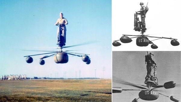De Lackner HZ-1 Aerocycle летающая платформа, предназначенная для перевозки одного солдата (1954).  В центре платформы находилась площадка для пилота, пульт управления и несколько приборов. Скорость и направление движения аппарата пилот мог изменять, сме
