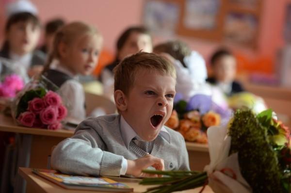 Первоклассники на первом уроке в одной из московских школ