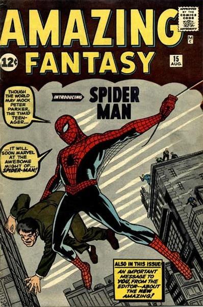 В рамках первой волны комиксов Amazing Fantasy, издаваемой Marvel Comics,было выпущено лишь 15 выпусков, в последнем из которых впервые появился Человек-паук. В марте 2011 года этот выпуск комикса был продан за 1 миллион 100 тысяч долларов.