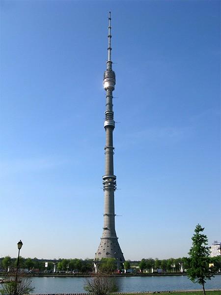 Останкинская телебашня (540 м). Занимает десятое место в списке самых высоких сообружений мира, но на момент постройки она была на втором месте (уступая лишь телебашне KVLY-TV в США) и самой высокой башней Европы. Она была спроектирована архитектором Нико