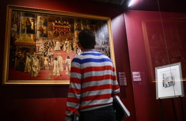 Картина Жоржа Беккера «Коронация императора Александра III и императрицы Марии Федоровны» представлена на выставке «Коронация в Кремле».