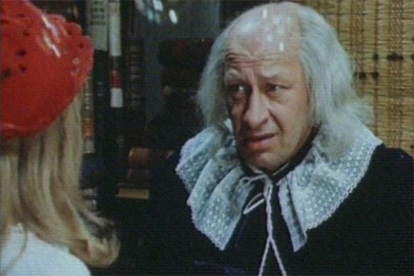 Евстигнеев часто появлялся на экране в образах различных персонажей в сказках и детских фильмах. Одним из таких примеров является мюзикл Леонида Нечаева «Про Красную Шапочку» 1977 года. Главные роли в этой картине исполнили Яна Поплавская и Владимир Басов