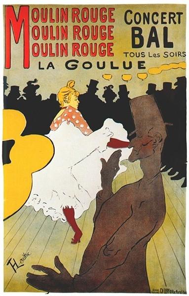 Ла Гулю и её партнёр Валентин Бескостный на афише «Мулен Руж», Анри де Тулуз-Лотрек, 1891 год. Танец канкан зародился в Париже и долгое время считался непристойным, но благодаря успеху кабаре «Мулен Руж», построенному во французской столице на бульваре Кл
