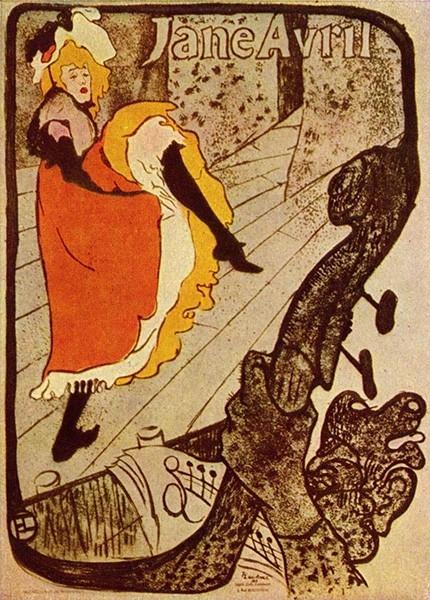 Знаменитая танцовщица канкана Жанна Авриль, афиша Анри де Тулуз-Лотрека, 1893 год. Она была самоучкой и никогда не брала уроков танца. Наряду с Ла Гулю является одной из главных звёзд «Мулен Руж».