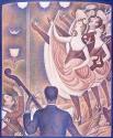 Картина Жоржа-Пьера Сёра «Канкан», 1889-1890. На картине художник изобразил вариацию канкана chahut (бедлам, гвалт – франц.).