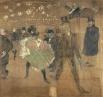 Картина Анри де Тулуз-Лотрека, 1895. Яркие работы французского импрессиониста во многом определили облик светской культуры того времени, а также в немалой степени способствовали популяризации канкана. Тулуз-Лотрек был автором множества афиш и рекламных пл