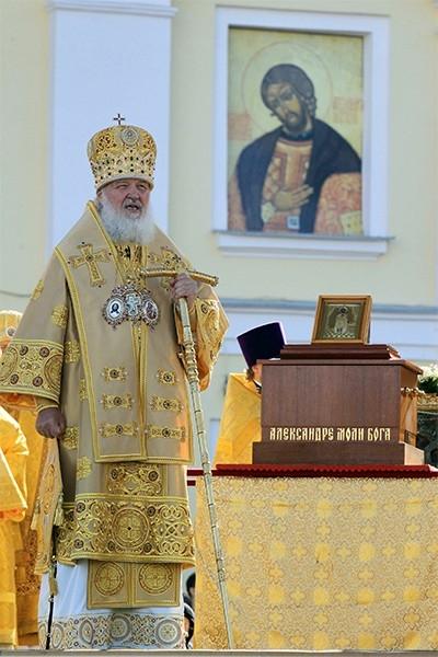 Патриарх Кирилл на праздновании 300-летия Александро-Невской лавры, 2013 год.