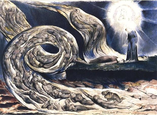 Через шесть лет после создания «Иерусалима» Уильям Блейк с подачи художника Джона Линелла увлёкся «Божественной комедией» Данте. Блейк решил создать целую серию гравюр для иллюстрирования одного из изданий, но к моменту смерти в 1827 году он успел заверши