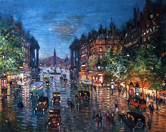 В Париже Коровин возвращается к городским пейзажам – он рисует Виши, Бастилию, Монмартр, однако со временем в нём просыпается ностальгия по родине и параллельно художник пишет несколько исконно русских сюжетов.