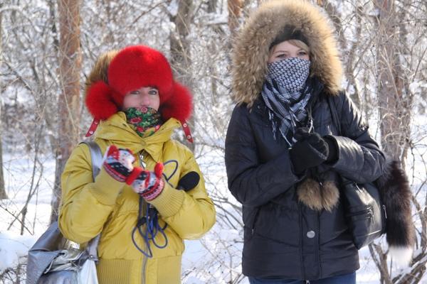 Морозно... Болельщики лыжников