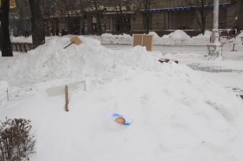 После митинга плакаты и фото Владимира Путина валялись в снегу