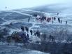 Лед Байкала в угольной пыли и копоти.