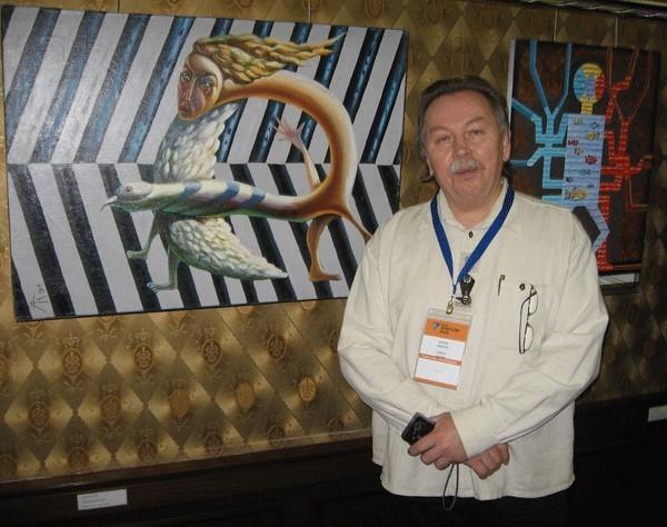 Алексей Караев с картиной «Древний нанохромосом».
