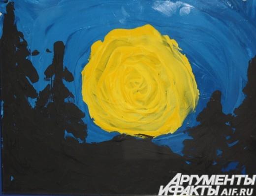 На синем фоне. Луна. Январь 2012. Рисунок выполнен пальцами руки