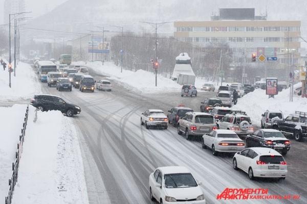 Заторы на дорогах Петропавловска