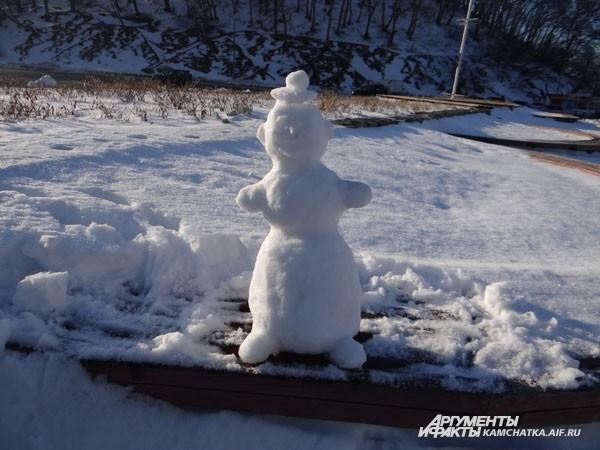 Через час здесь остался только лишь снеговик…