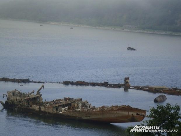 В туманной дали остовы затонувших кораблей кажутся почти нереальными