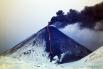 Раскалённая лава и чёрный дым
